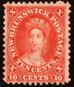 9, New Brunswick, Canada, 10c, vermillion, Queen Victoria, VG/F, MHOG