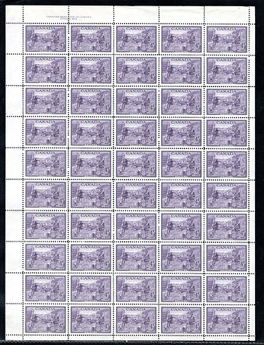283, Scott, 4c, Canada, Founding of Halifax, Plate 2, Full Sheet of 50, VF, Post