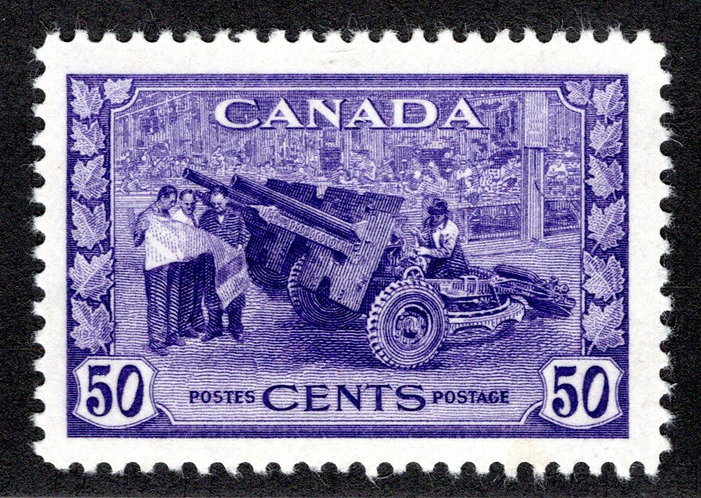 261, Scott, 50c, MLHOG, F/VF, Munitions Factory, 1942, Canada Postage Stamp