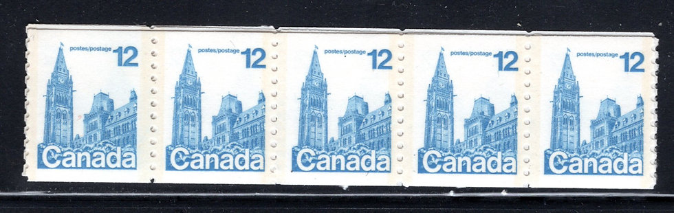 729 coil of 714, Scott, 12c, blue, LF, Parliament, strip of 20, MNH