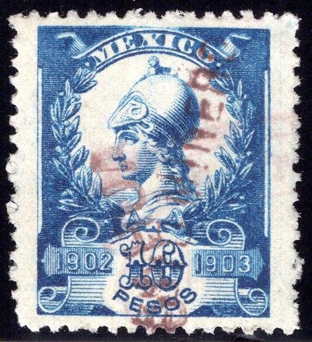 R 221D, MEXICO, 1902-1903, 10P, Warrior Goddess, IMPUESTO MINERO, no talon