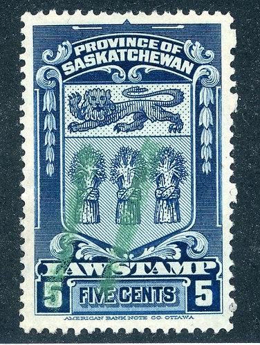 van Dam SL33 - Used- 5c- 1908 Saskatchewan Law