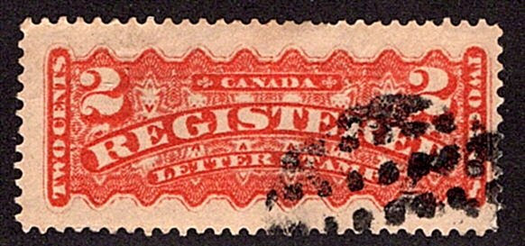 """F1, 2c, Registration, Canada, p12.25 , orange, Used, """"DOTS IN A CIRCLE"""" Fancy"""