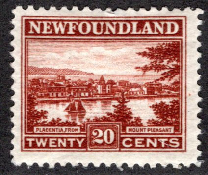 135, NSSC, Newfoundland, 20c, red brown, Placentia, MHOG, F