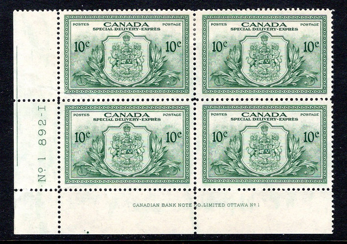 E11, 10c green, Special Delivery, Peace Issue, MNHOG, Plate Block of 4, PL1, LL