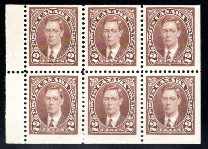 332b, Canada, booklet pane, 6x2c, brown, MNH, KGV MUFTI Issue, Postage Stamps