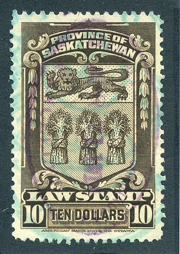 van Dam SL43 - Used - $10 - 1908 Saskatchewan Law