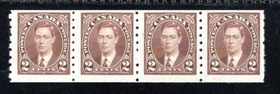 239 Scott, Canada, 2c MNHOG, F, Strip of 4, KGVI Coil Stamps