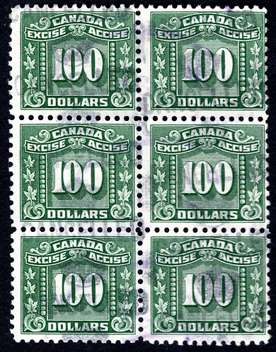 van Dam FX94, $100 green, block of 6, used, Federal Excise Tax Stamps, F