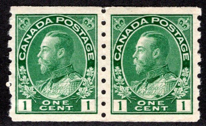 "Scott 125a, 1c green, Coil Pair, VF, MNHOG, King George V ""Admiral"", 1924, Canad"