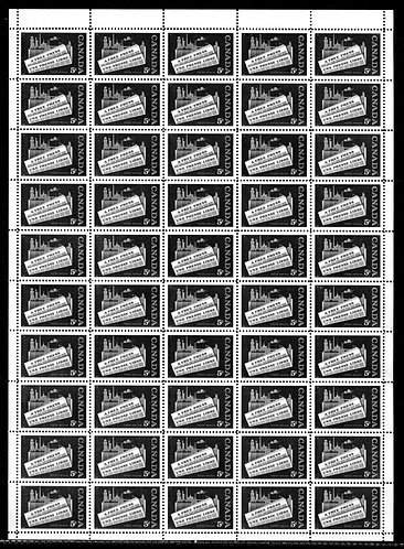 "375, Scott, 5c, Canada, ""A Free Press"", Blank PB, Full Sheet of 50, VF, Postage"