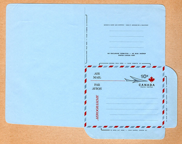 A32 Canada, Aerogramme, 10c red, black and grey on light blue, Unused, Unfolded