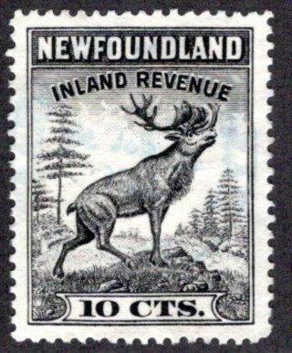 R27, NSSC,Newfoundland, Used,1938 Caribou,10c black, XF/SUPERB,Inland Revenu