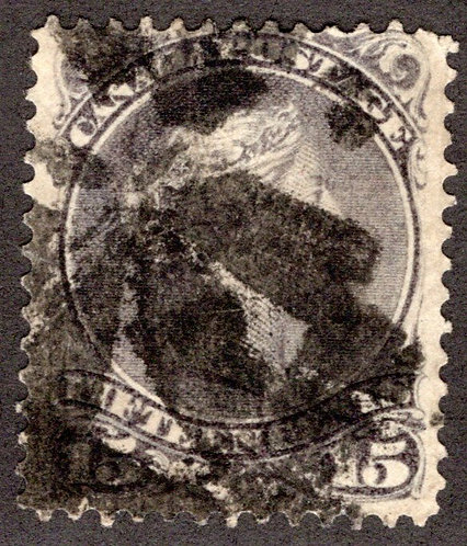 Scott 30, 15c grey, Large Queen, Fancy Cancel, Used, F, Canada Postage Stamp
