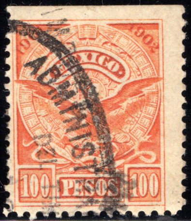 R 211C or D, Mexico, 100P, 1901-1902,National Arms and Aztec Calendar, IMPUESTO