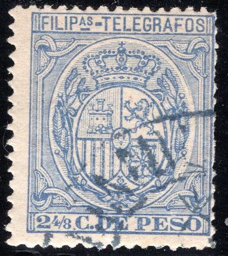 Philippines / Filipinas, H56, 2½ blue, 1892, used, Telegraph Revenue Stamp