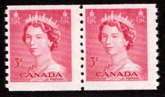 Scott 332, coil pair, 3c,MNHOG, F, Queen Elizabeth II, Karsh, Canada
