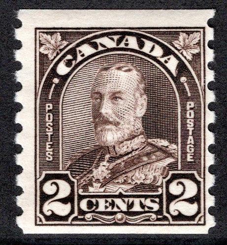 "182 Scott, KGV ""Arch/Leaf"", 2c, dark brown, MHOG,F,Canada Stamp, Large Borders"