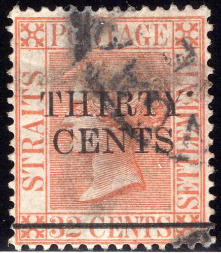 76 Straits Settlements, Surcharged 30c on 32c red orange, used