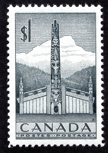 Scott 321, $1 grey, VF/XF, MNHOG, Totem Pole, 1953, Canada Postage Stamp