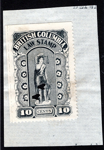 "van Dam BCL22b, ""perf x roulette"", 10c, used, on piece,  British Columbia Law St"