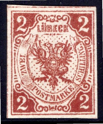 Scott #3, 2 schilling, Lubeck, German State, Forgery, MNG
