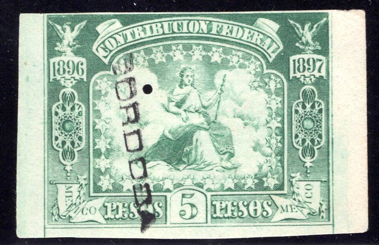CF 116B, Mexico, 5P, withour talon, 1896-1897, Contribucion Federal, Federal Tax