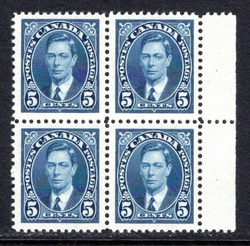 235 Scott, 5c blue, MNHOG, VF, block of 4, KGVI Mufti Issue, Canada Postage Stam
