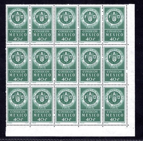 Scott 973, Mexico, Partial Sheetof 15, MNHOG, 1966, 40c, FAO Emblem, Rice
