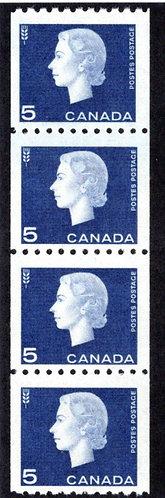 409i, Scott, 5c violet blue, Jump Strip of 4, MNHOG, Cameo Issue, Coil, Canada