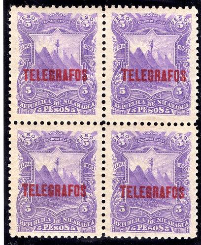 RH#35,H35, Type 6 - 5p violet- MNHOG - XF - block - Nicaragua Telegraph Revenu