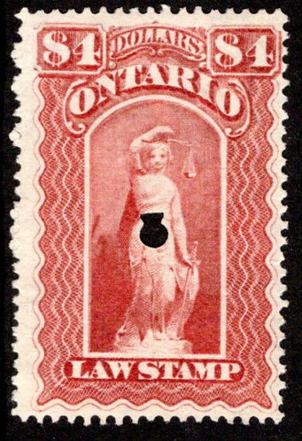 van Dam OL60, Canada, Ontario, used, Law Stamp, $4, 1 punchcancel,