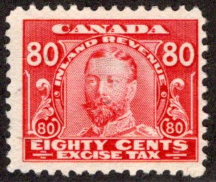van Dam FX12 - 80c George V Excise Tax - Used - CARIS: CAE 12