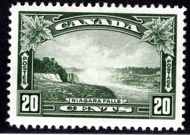 225 Scott - 20c olive green, VF, MLHOG, Niagara Falls, Canada Postage Stamp