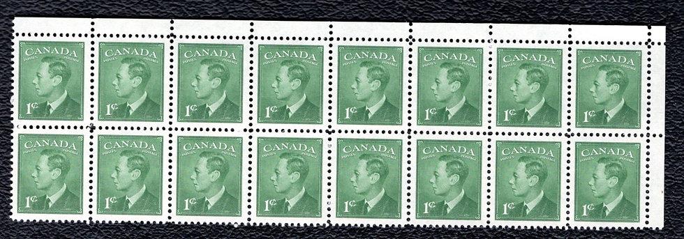 "Scott 284, block of 16, MNHOG, KGVI with ""postes/postage"", 1c, green"