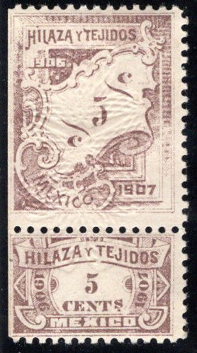 HT 90A, 5c, 1906-1907, Numerals on Plaque, Beautiful Embossed Floral Pattern,Hil