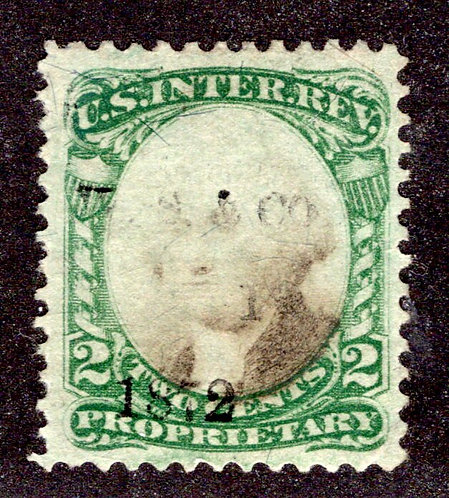 Scott RB1a, 1c green & black, Proprietary, Used, illegible printed cancellation