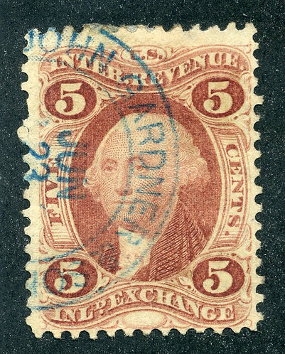 R27c - 5c - Inland Exchange- perf - used - h/s Blue - John Gardner & Sons