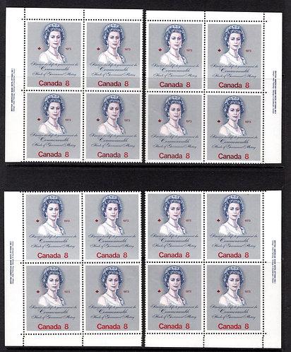 620i, Scott, 8c, Queen Elizabeth, MNHOG, Matching Plate Corner Blocks, Canada Po
