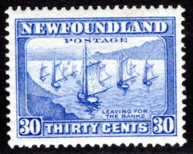 192, NSSC, Newfoundland, 30c, ultramarine, Fishing Fleet, MLHOG, F/VF