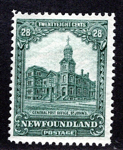 150, NSSC, Newfoundland, 28¢ General Post Office, gray green, MLHOG, F