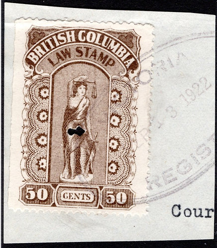 van Dam BCL25a, perf x roulette, 50c,  used, EF, British Columbia Law Stamp