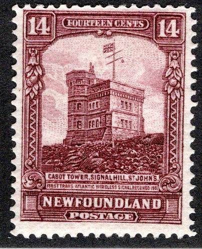 147, NSSC, Newfoundland, 14¢ Cabot Tower, red brown,MLHOG, F,postage stamp