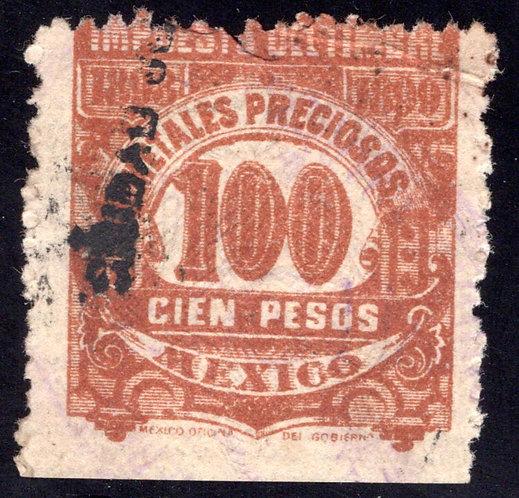 MP 16, Mexico, 100P, 1898-1899, Precious Metals / Metales Preciosos