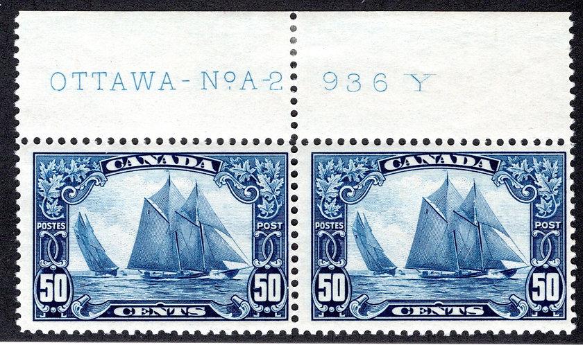 Scott 158, 50c dark blue, Bluenose, Horizontal Pair, C/V $800 CDN