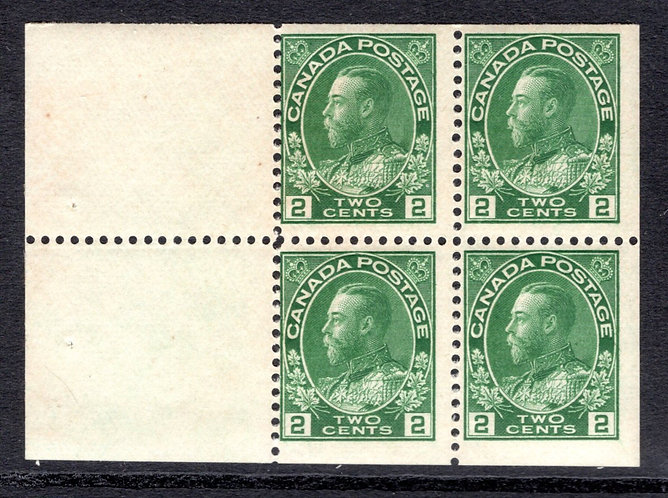 "Scott 107b, 2c, ""Admirals"" booklet pane of 4 x 2c + 2 labels, MNHOG, F, Canada P"