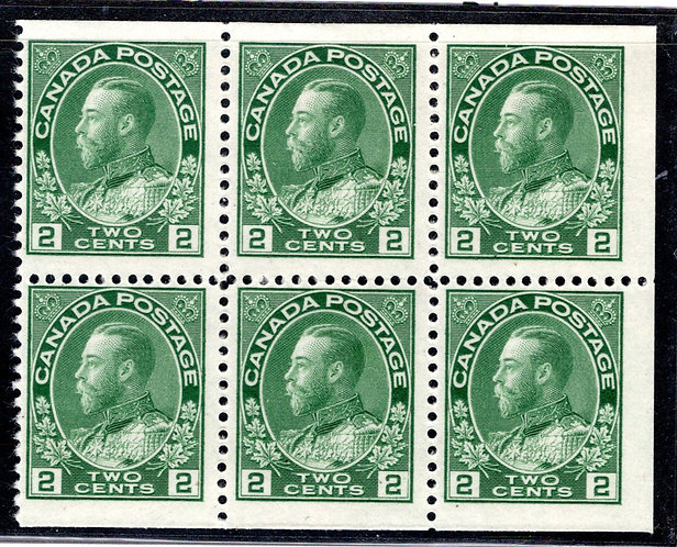Scott 107c, booklet pane of 6 x 2c yellow green, 1 stamp is MLHOG, the rest, MNH