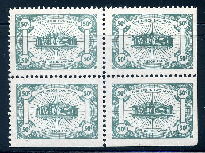 NSC17 - Cape Breton - 50c - MNHOG 50c Law Stamps, Block of 4