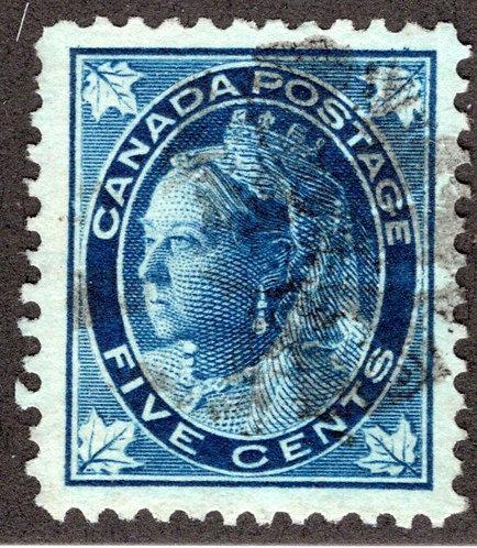 "70 Scott - 5c dark blue, VF, Used, 1897, QV Maple LeafIssue"", Canada Postage St"