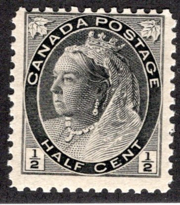 "74, 1/2c Queen Victoria ""Numeral"" Issue, MNHOG, VG/F, Canada Postage Stamp"